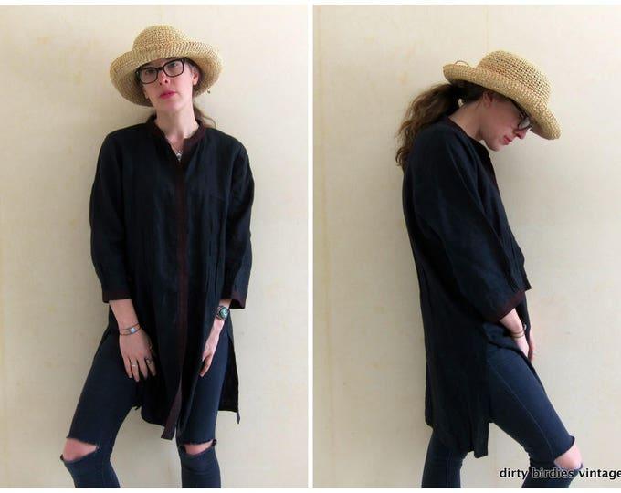 Black Dashiki Tunic Top Black Linen Dress Button Up Minimal Shirt Dress Blouse Tribal Caftan Dress Long Tunic Top Womens XL Large