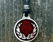 Laurel Wreath Pendant in Fine Pewter Your Choice of Color by Treasure Cast Pewter