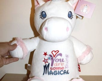 Unicorn Soft Toy 40 cm tall w. Embroidered Belly - Finished Item