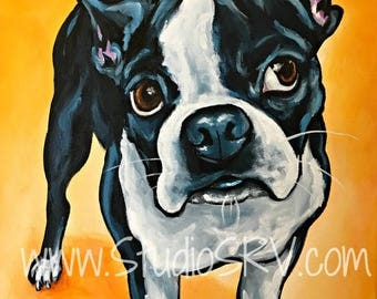Boston Terrier Print 12x12