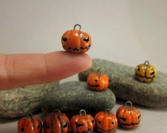 Tiny Raku Jack'O Lantern Charm...Orange