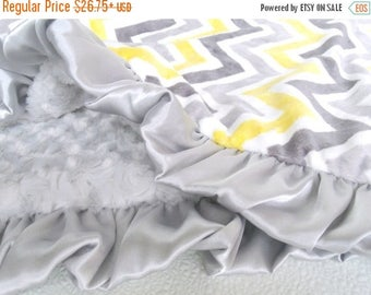 SALE Yellow and Gray Chevron with Silver Swirl Minky Baby Blanket Can Be Personalized