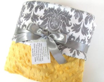 SALE Saffron Yellow and Gray Damask Minky Baby Blanket - for boy or girl Can Be Personalized