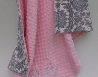 SALE Pink and gray damask minky blanket pink minky dotCan Be Personalized