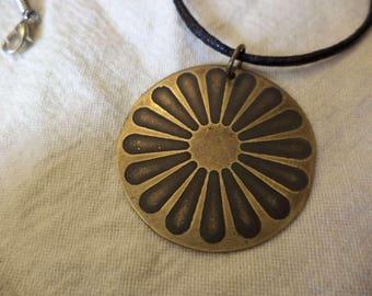 Romani Wheel  Etched Brass Pendant