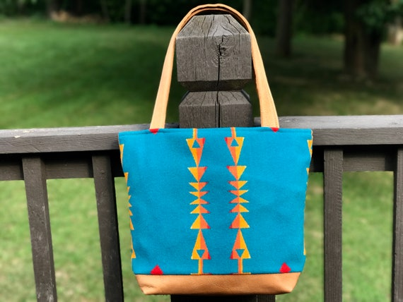 Wool Tote Bag XL / Purse / Diaper Bag Bright Turquoise