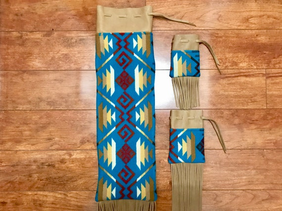 Wool and Leather Fringed Pipe Bag Set - Turquoise Coyote Butte / Pipe Bag / Cedar Bag / Medicine Bag Set Running Buffalo