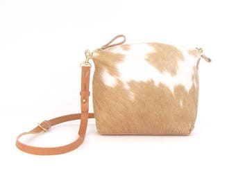Brown and Ivory Hair on Hide Cross Body Bag ~ Pony Hair Handbag for the Modern Rustic Cowgirl