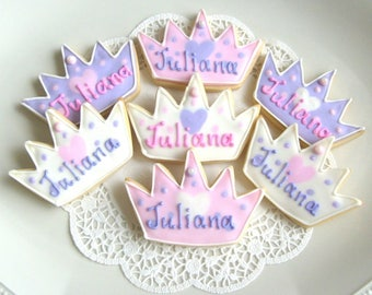 Prince and Princess  Crown  Cookies - Crown Cookie Favors - Princess Crown Cookies - Prince Crown Cookies - 1 Dozen