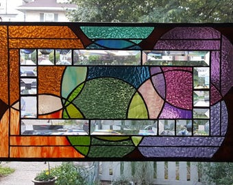 OVERLAPPING SPHERES & BEVELS** Stained Glass Window Panel (Signed and Dated)