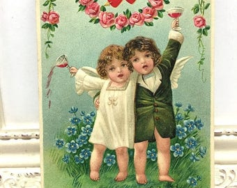 Mid Year Sale Vintage Valentine's Day Postcard, Vintage Postcard, Valentine Postcard, Valentine Ephemera, Two Cupids Drinking Red Wine with