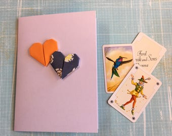 Origami greeting card - two small hearts (orange and blue)