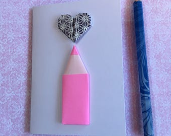 Origami greeting card - pencil and heart (neon pink and navy)
