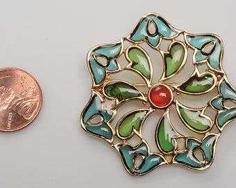 Signed Trifari  Brooch:  Plique a Jour - Stylized Flower c.1950's