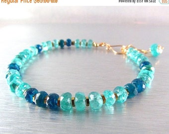 25 OFF Aqua and Neon Blue Apatite Stacking Bracelet
