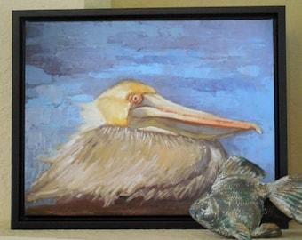 Pelican Giclee Print, Print on Canvas, Wildlife Print, 11x14 Framed Giclee Print