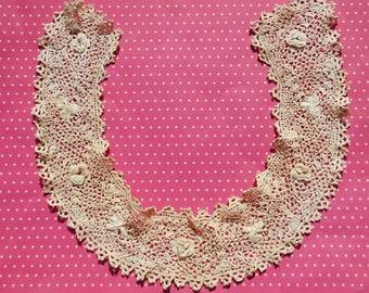 Antique Lace Vintage Lace Irish Crochet Collar Roses Shamrocks