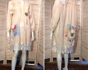 Upcycled Dress Pintuck Placket Poet Shirt Embroidered Tea Towl Pocket Vintage Lace n Doiles Romantic Shabby Chic Tunic L XL XXL DeviDesigns