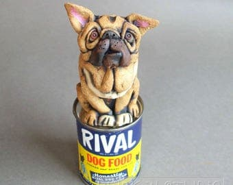 Bulldog Sculpture on Antique Dog Food Can