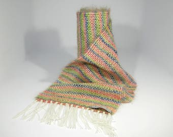 Hand Woven Kid Mohair & Wool Scarf in pastel colours