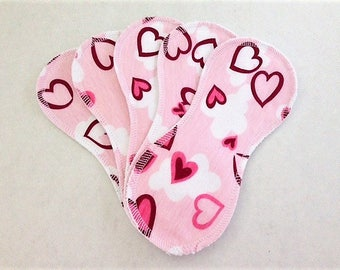 5 Wingless Contour Cloth Panty Liners -  Pink Hearts