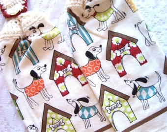 Dog Kitchen Towels - Hand Towels - Hanging Dish Towels - Dogs and Dog Houses - Set of 2 - SALE