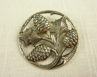 Vintage Sterling Pine Cone Branch Brooch