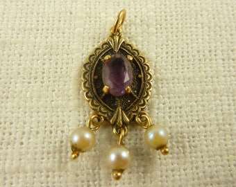 Antique Victorian 14K Gold Amethyst and Pearl Charm