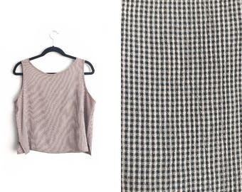 Size L // GINGHAM TANK TOP // Blush Pink & Black - Sleeveless - Rayon - Vintage '90s.