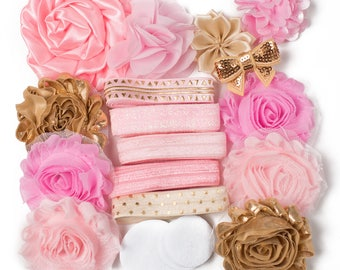 Fancy Girl   10 DIY Headbands   Baby Pink + Gold Headband Kit Craft Flowers FOE Fold Over Elastic   Princess Parties + Baby Showers