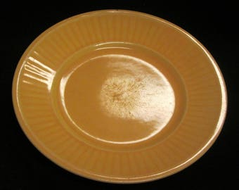 Sunflower Yellow Plate Vintage 40's Ribbed Edge Stoneware