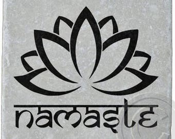 Namaste, Lotus, Marble Stone Coaster