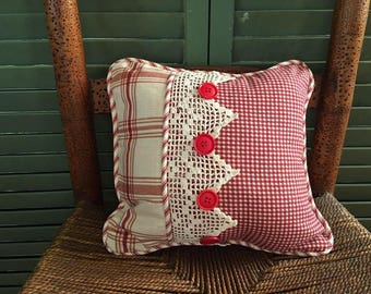 Vintage Lace Pillow, Red Cotton Check, Red Ticking with Vintage Buttons and Vintage Lace, So PaRiS ApArTmEnT