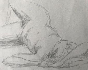 Figure Sketch - Figurative Art - Female Nude - Pencil Sketch on Paper