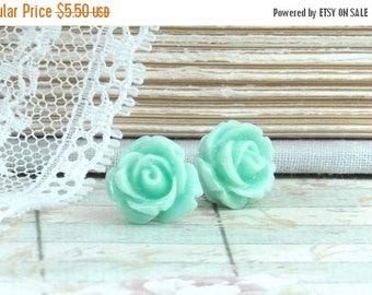 Light Turquoise Rose Earrings Rose Stud Earrings Seafoam Green Earrings Hypoallergenic Turquoise Rose Studs