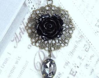 Black Rose Necklace Gothic Necklace Black Flower Necklace Victorian Flower Necklace Black And Gray Necklace