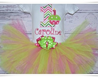 Baby girl cupcake birthday tutu set, first birthday, cupcake outfit, hot pink and green tutu set, cake smash, monogrammed