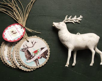 Santa's Reindeer Christmas Retro Holiday Set of 9 gift tags
