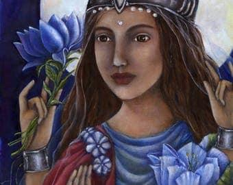 Goddess Lakshmi Painting - Hindu Goddess - goddess of prosperity - wall art decor - hindu art - Indian art - powerful women - spiritual art