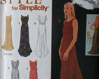 Simplicity 8946 Misses Long Formal Dress fitted sleeveless scooped back neckline with princess seams. Red Carpet Attire Misses Size 8 to 18