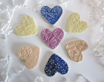 7 heart tiles, dragonflies, flowers, DIy projects, glazed tiles