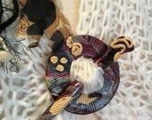 Handmade Scarf Pin, Brooch, Stick-'n Stone Shawl pin set, Handcrafted decorative polymer clay scarf pin, maroon black cream, jewelry