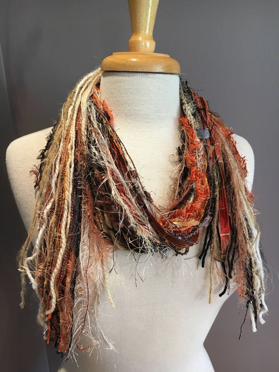Fringie in Autumn Rust, Multi-texture hand tied fringe scarf,  Rust beige cream oranhe, boho, fur scarf, fall color scarf, yarn scarves