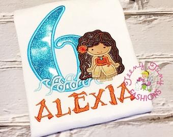 Moana Birthday shirt ~ Moana theme ~ Polynesian princess ~ Hawaiian princess birthday ~ luau birthday ~ girls birthday shirt ~ 6th birthday