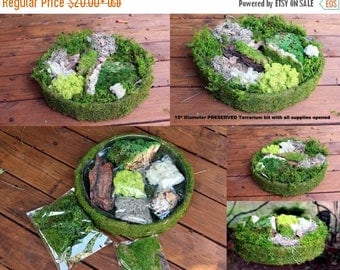 "Save25% DIY Fairy Garden Kit-15"" diameter with tree bark-Spanish Moss-Preserved Reindeer moss & More"