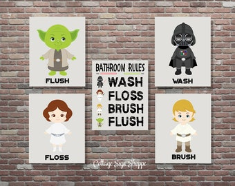 Bathroom Rules,Star Wars Bathroom Art,Star Wars Art, DIGITAL, YOU PRINT