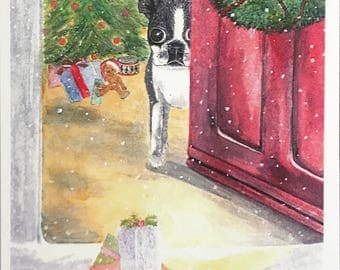 This is a fine art watercolor print that has been made into Christmas Card Boston Terrier,glowing tree,toys, surprises by Janet Dosenberry