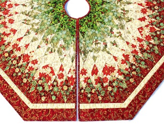 Christmas Tree Skirt Quilt, Red Green Diamonds All Around Quilted Tree Skirt, 60 inch Poinsettia Tree Skirt, Quiltsy Handmade Patchwork