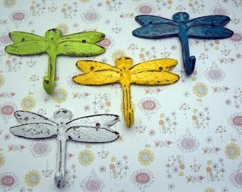 Dragonfly Cast Iron Mini Set 4 Wall Hooks Shabby Style Chic Lime Green White Teal Blue Yellow Leash Key Potholder Potting Shed Pool Hooks