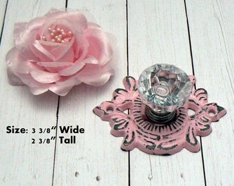 Cabinet Drawer Pull Shabby Chic Medallion Cast Iron PINK Backplate acrylic Knob French Paris Do It Youself DIY